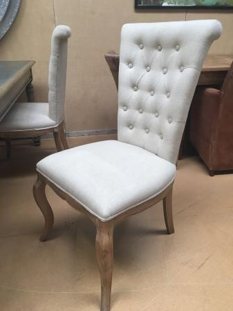 Buttoned Back Weathered Oak Dining Chair