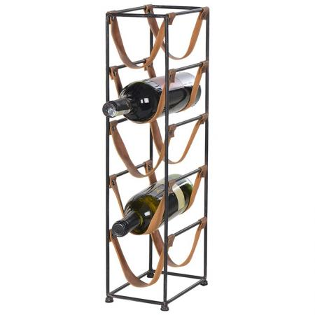 5 Bottle Metal & Faux Leather Wine Rack