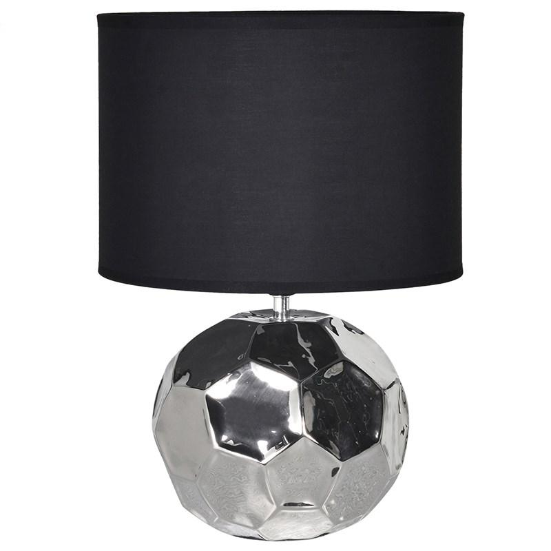 Round Chrome Table Lamp With Black Shade