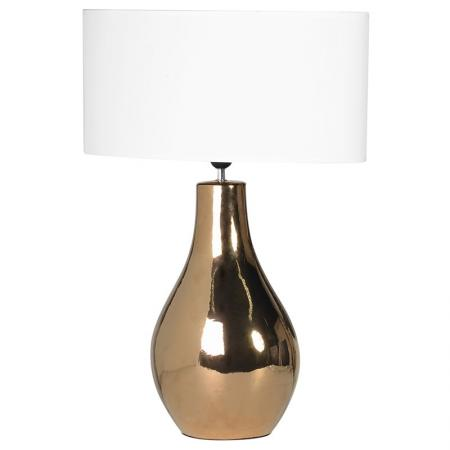 Gold Base Ceramic Table Lamp / White Oval Shade