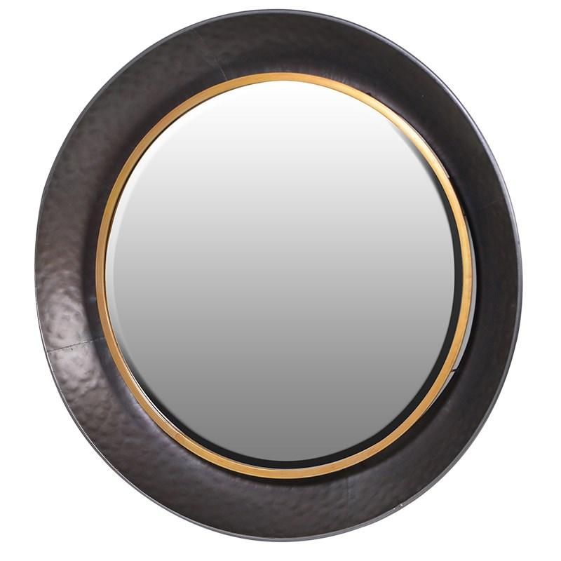 Modern black gold round wall mirror mulberry moon for Round black wall mirror