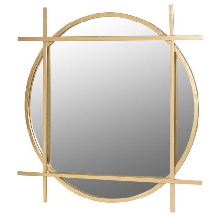 Large Gold Metal Round & Square Wall Mirror