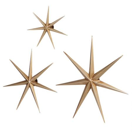 Set of 3 Iron Gold Stars Wall Decorations