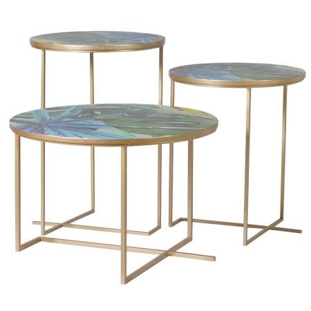 Set of 3 Round Metal Tropical Print Tables