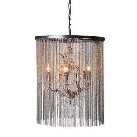 Large Crystal And Glass Chain Chandelier Light