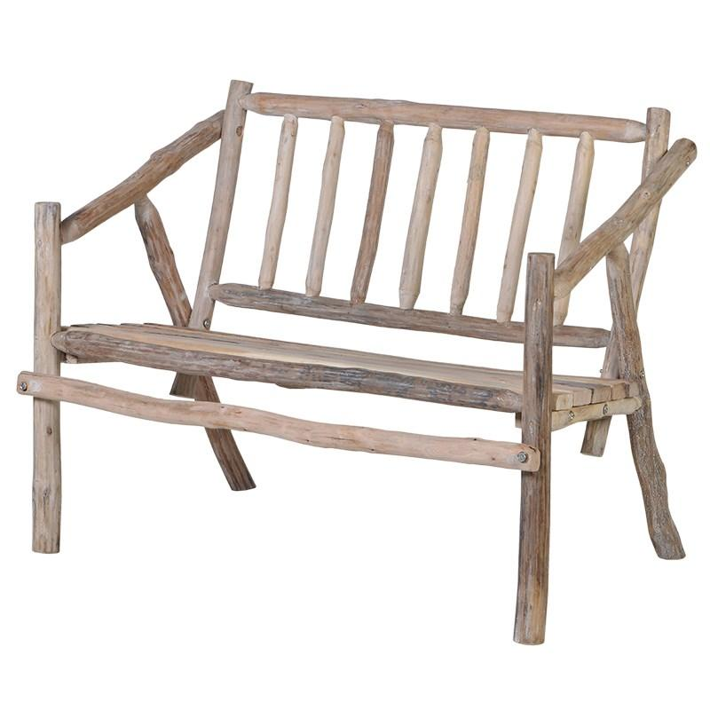 Small rustic wood garden bench mulberry moon for Small wooden garden table