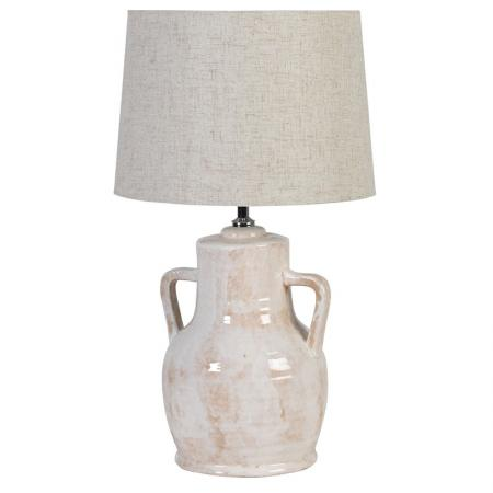Ceramic Urn Lamp With Cream Shade