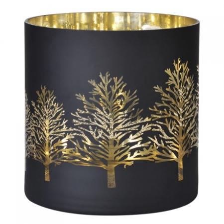 Large Black & Gold Trees Glass Candle Holder