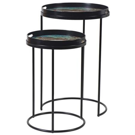 2 Black Side Tables With Green Marbled Tops