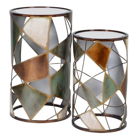 2 Gold Side Tables With Metal Panelled Detail
