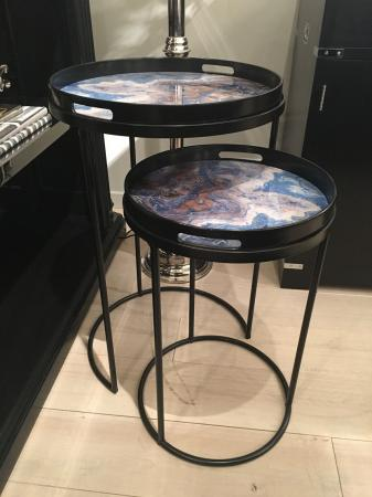 2 Black Side Tables With Blue Marbled Tops