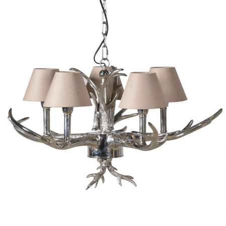 Silver Antler Chandelier With Small Shades