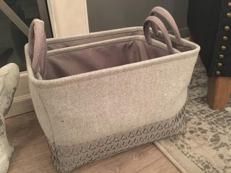 Set of 2  Grey Faux Leather Storage Baskets