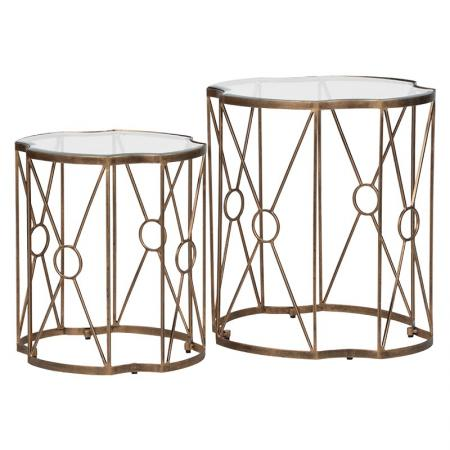 2 x  Antique Brass Glass End Tables