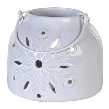 Ceramic White Lantern With Flower