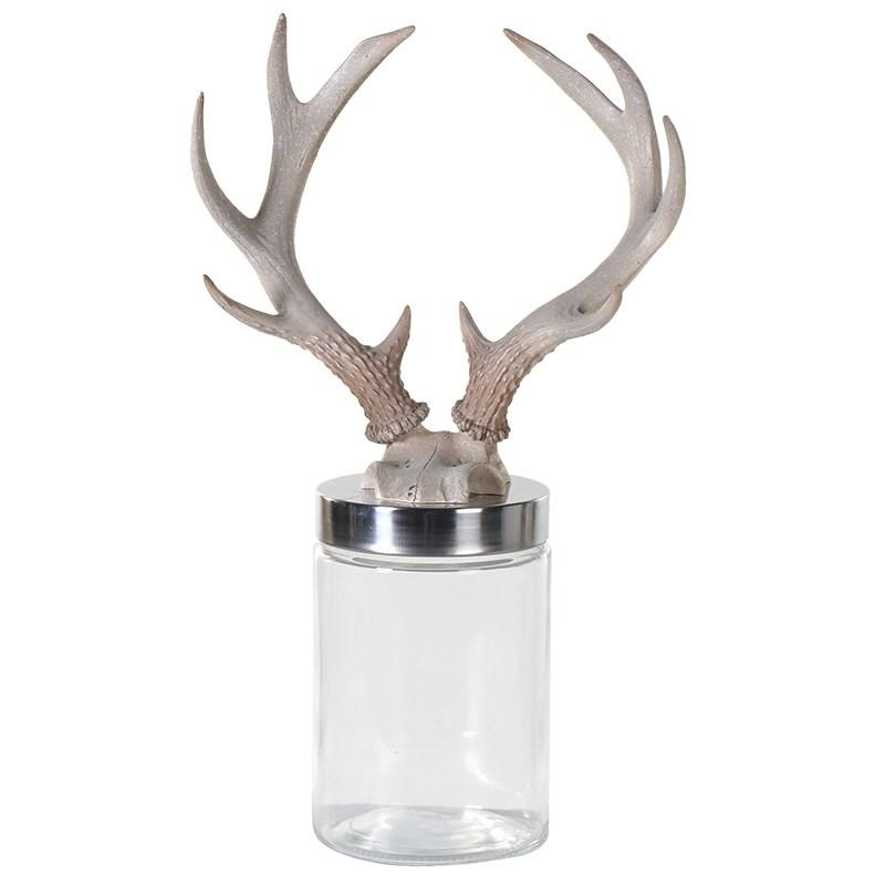 natural stag antler lid glass jar