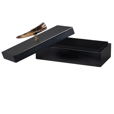 Black Storage Box With Horn Handle