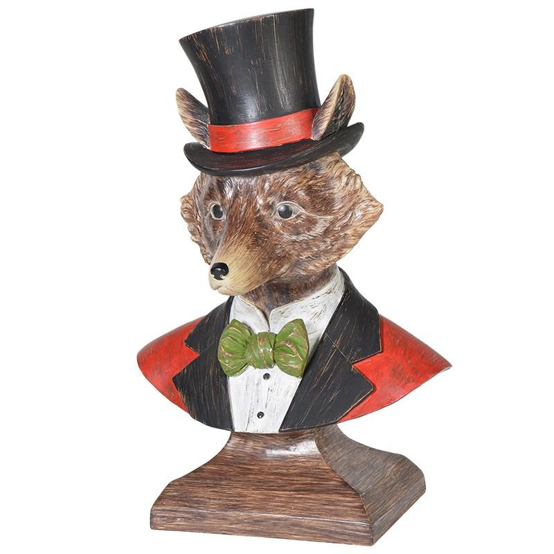 Mr. Fox With Top Hat Bust Sculpture