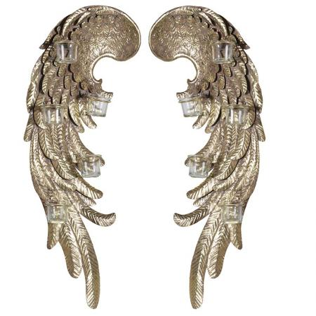 Pair Gold Wings Wall T-Light Holder