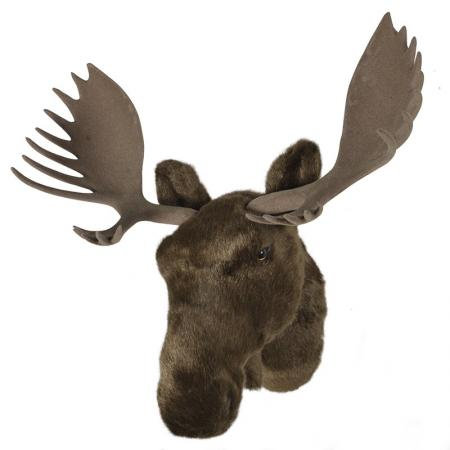 Furry Moose Hanging Head Wall Sculpture