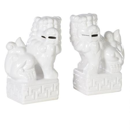 Set of 2 Ceramic Foo Dogs Sculpture