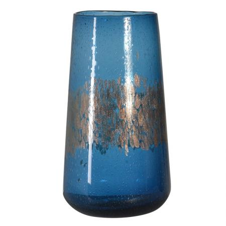 Blue And Gold Bubble Glass Hurricane Vase