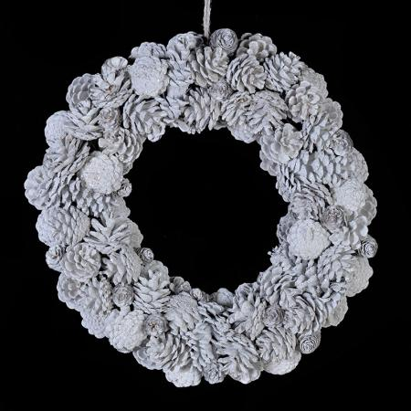 Large White Pinecone Wreath