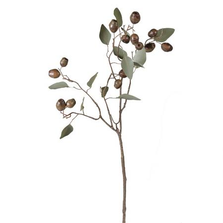 3 x Stems of Tall Artificial Eucalyptus Spray With Seeds