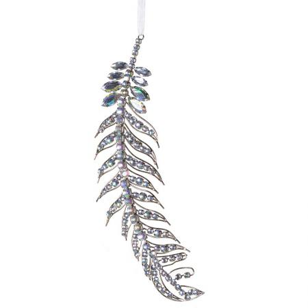 2 x Christmas Rhinestone Hanging Feather Decorations