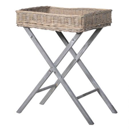 Grey Wood Folding Willow Tray Table