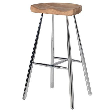 Contemporary Oak & Chrome Bar Stool