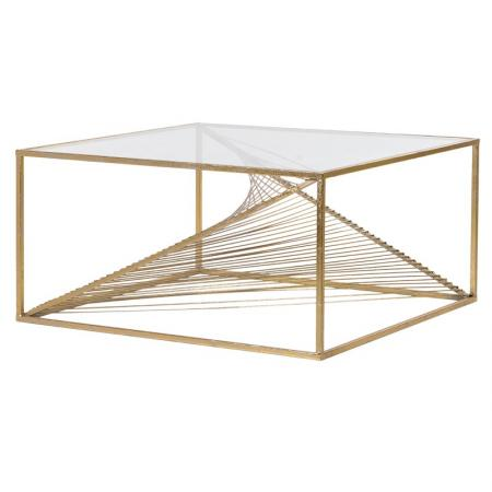 Clear Glass Gold Twist Coffee Table