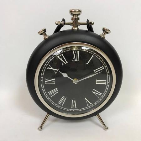 SECONDS - Black Fob Watch Style Mantel Clock