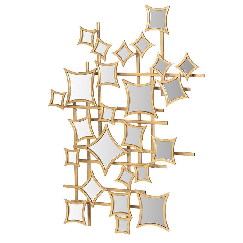 Gold Metal Squares Abstract Wall Art Mirror Mulberry Moon