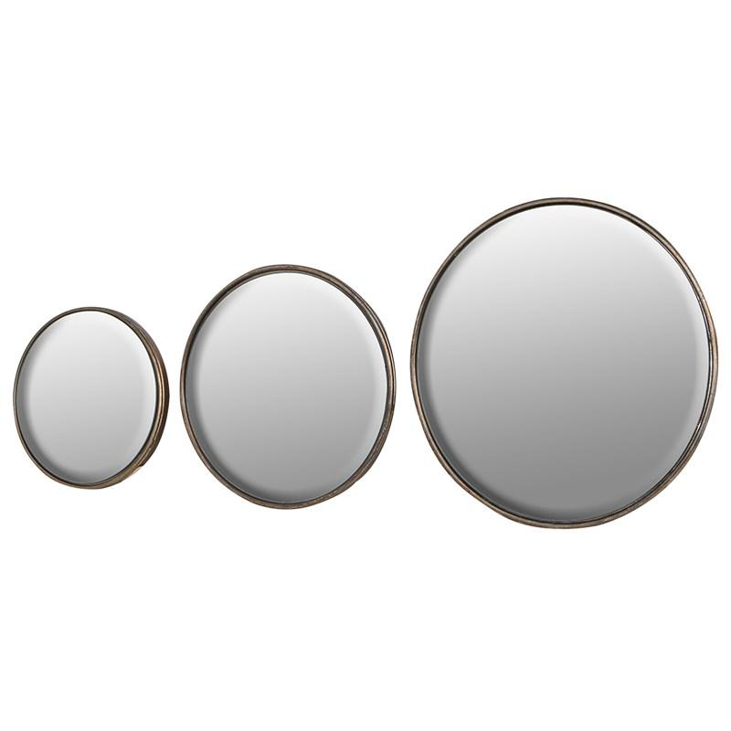 Set Of 3 Round Metal 3 D Wall Mirrors Mulberry Moon