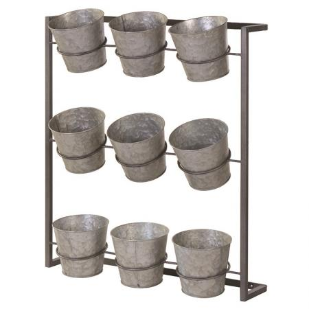 Wall Hanging Metal 9 Bucket Planter