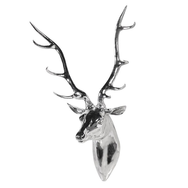 Extra Large Silver Stag Head Wall Sculpture Mulberry Moon