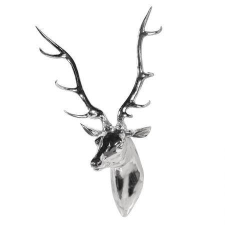 Extra Large Silver Stag Head Wall Sculpture