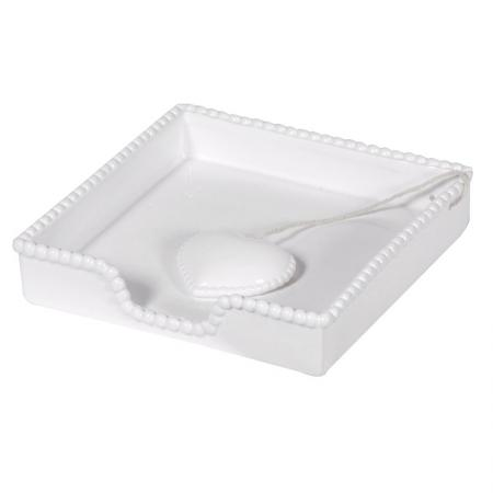 White Napkin Tray With Heart