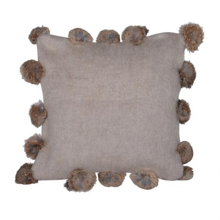 Beige Rabbit Pom Pom Cushion Cover