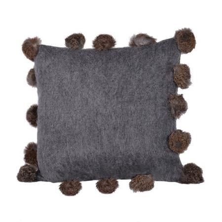 Charcoal Rabbit Pom Pom Cushion Cover
