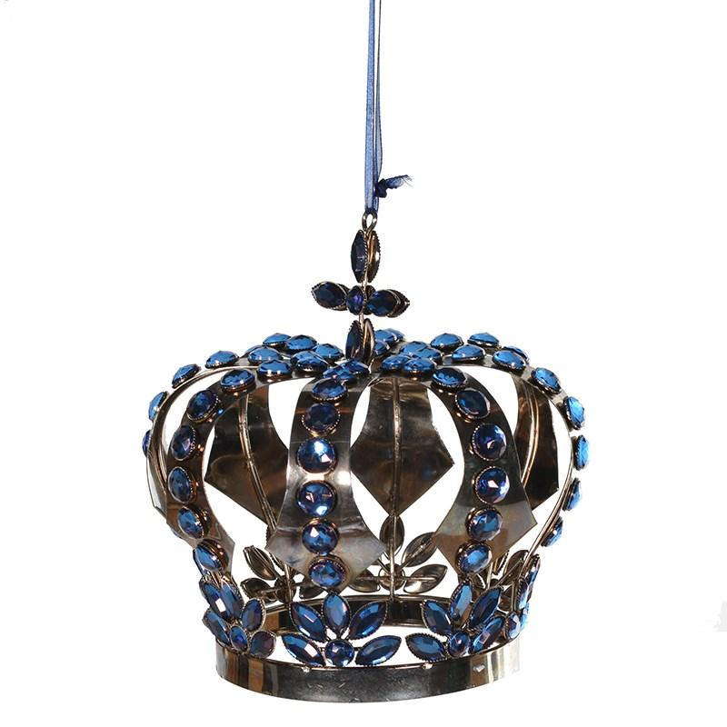 Blue Jewelled Crown Ornament