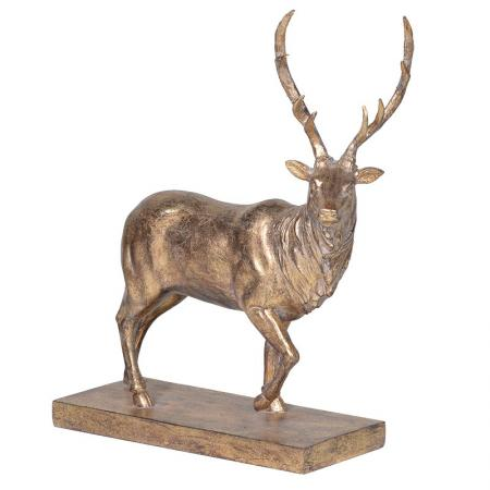 Golden Stag Sculpture On Base