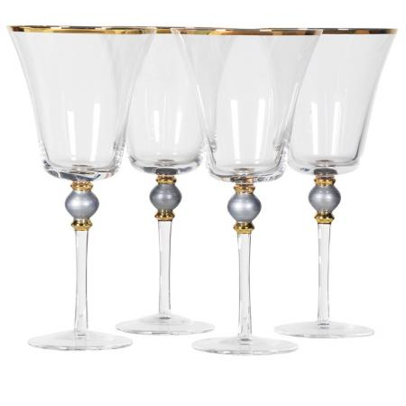 Set of 4 Grey Bead Red Wine Glasses