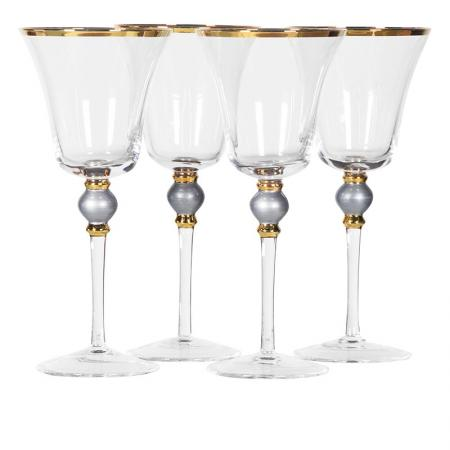 Set of 4 Grey Bead White Wine Glasses