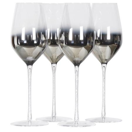 Set Of 4 Silver White Wine Glasses With Crystal Stem