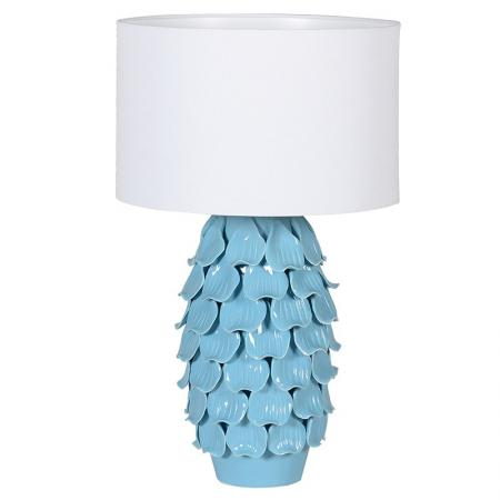 Ceramic Blue Petal Lamp with White Shade