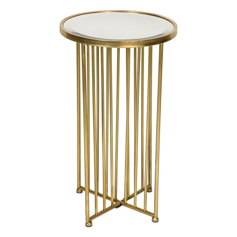 Tall Round Gold Mirrored Side Table