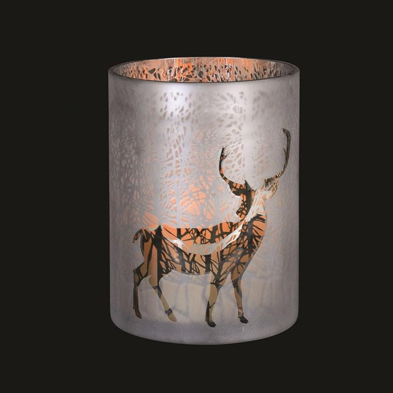 Frosted Stag Amp Forest Hurricane Candle Holder Mulberry Moon