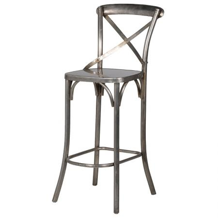 Distressed Silver Cross Back Iron Bar Chair